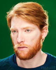Domhall Gleeson for Vulture Hot Ginger Men, Ginger Guys, Ginger Ale, Domhall Gleeson, Brendan Gleeson, Redhead Men, Costume Noir, Rides Front, Man Bun