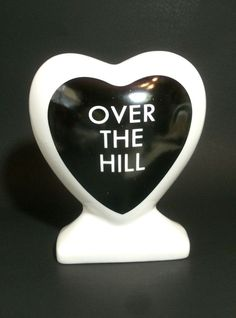 Over the Hill Piggy Bank Heart Shape Money Coins Ceramic includes Stopper 1987 #Unknown