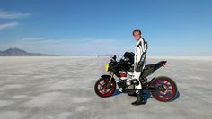 Brandon Nozaki Miller on the first production electric motorcycle to break 161 km/h (100 mph), a 2012 Zero S ZF6 at Bonneville Salt Flats (2012)