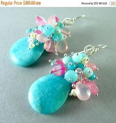 Amazonite, Apatite, Rose Quartz and Pearl Sterling Cluster Earrings. Beautiful smooth turquoise blue amazonite drops hang below a generous cluster of faceted rose quartz briolettes, smooth ammonite discs, faceted apatite rondelles and creamy white pearls. I have used all sterling