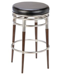 Furniture. round black leather barstool with brown wooden legs and silver steel…