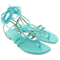 Pre-owned Sandals in turquoise (8.226.955 IDR) ❤ liked on Polyvore featuring shoes, sandals, turquoise, cut out shoes, hermès, turquoise shoes, cutout shoes and cutout sandals