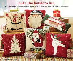 Love these holiday hooked pillows!