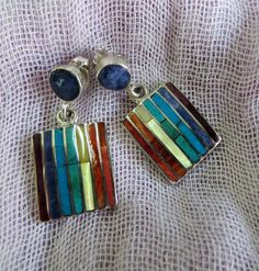 Rainbow colored earrings made from Peruvian stone and by PeruNz,