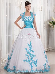 dcb6b56cd93 White Ball Gown Sweetheart Floor-length Taffeta and Organza Appliques  Quinceanera Dress