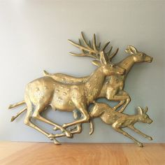Huge, Vintage Metal Deer Wall Art