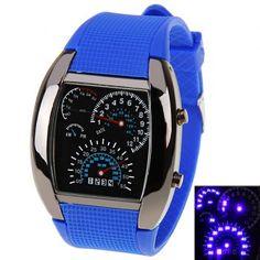 LED Car Watch / Mesa de luz azul Dial Arch y reloj del silicio Band - Blue para Vender - La Tienda En Online IGOGO.ES