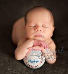 newborn boy with baseball  www.DenaHoward.com