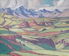 The Maluti Mountains by Jacob Hendrik Pierneef, South African painter, 1929 Paintings I Love, Oil Paintings, African Paintings, Contemporary African Art, South African Artists, Mountain Art, Art Pictures, Pretty Pictures, Art Market