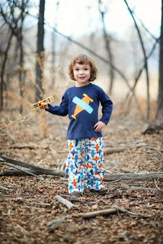 Boys Outfit - Airplane Outfit - Shirt and Pant Set -  Blue Orange Red - Boys Pant outfit - Toddler - Baby - Boy on Etsy, $30.00