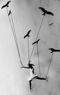 """""""Learn to fly"""" - Photo by Sunny Marry. [art project - myth and reality, lead the way birds] Illustration Mode, Photo D Art, Learn To Fly, Art Photography, Street Photography, Surrealism Photography, Flying Photography, Levitation Photography, Exposure Photography"""