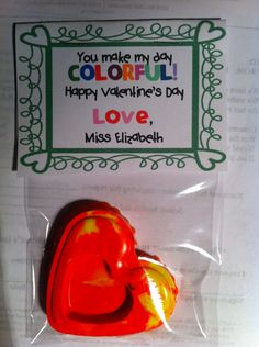 Homemade heart shaped crayons for valentines day