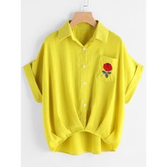 SheIn(sheinside) Cuffed Rose Embroidered Dip Hem Shirt With Chest... (47 BRL) ❤ liked on Polyvore featuring tops, shirts, yellow, short sleeve tops, polyester shirt, short sleeve button shirt, embroidered shirts and button shirt