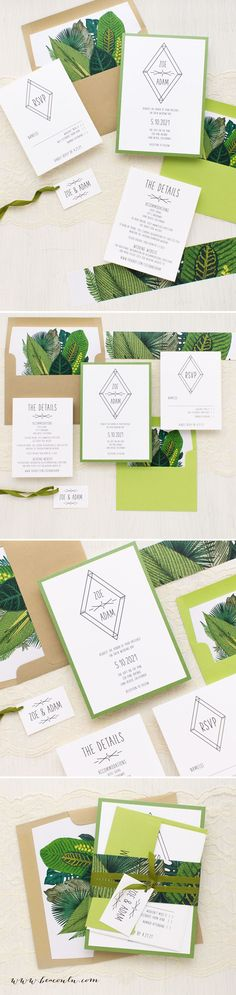 Green and gold, modern boho inspired Tropical Green Leaf wedding invitations. Simple typographic fonts on bright white paper creates a classic, yet modern/timeless look.