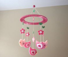 Baby Crib Mobile  Birds and Flowers by studiowhim on Etsy, $37.00
