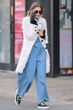 Who: Jaime King What: Wide leg jeans Why: The actress and new mom steps out in billowing—but cool—wide leg trousers and a pastel fur J.Mendel coat. Get the look now: Sonia Rykiel pants, $444, matchesfashion.com.