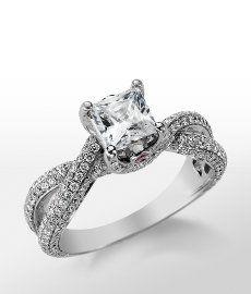 Romantic Collection - Monique Lhuillier Twist Trellis Engagement Ring in Platinum