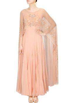 Pastel pink tonal embroidery cape anarkali set available only at Pernia's Pop Up Shop.