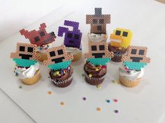 Five Nights at Freddys Cupcake Toppers by JustALevel on Etsy  Fnaf hama / perler beads