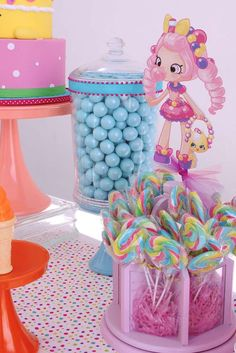 Colorful Shopkins birthday party candy! See more party ideas at CatchMyParty.com!
