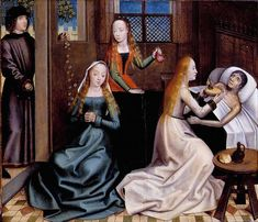 Saint nicholas gives dowry to daughters of impoverished nobleman, 1480, master   of the legend of st lucy.