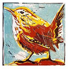 Winterkoninkje - linosnede - linoprinting Mobile Art, Kitchen Art, Rooster, Animals, Animais, Animales, Animaux, Animal, Chicken