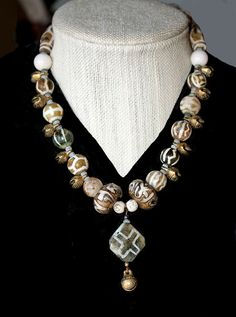 Pumtek Bead Pendant and Necklace with White Agate by BijouxWalla