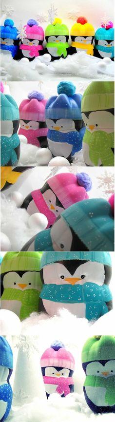 Pinguins de garrafa PET enfeites de natal: