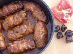 Roladki z karkówki z wędzoną szynką i suszonymi śliwkami Tortellini, Sausage, Pork, Food And Drink, Lunch, Meat, Dinner, Recipes, Gourd