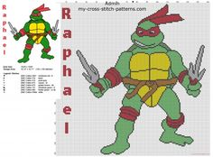 Raphael from cartoons Teenage Mutant Ninja Turtles TMNT free cross stitch pattern big size