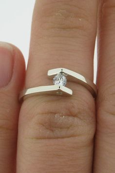Sterling Silver and White Sapphire Engagement by VaLaJewellery, $430.00