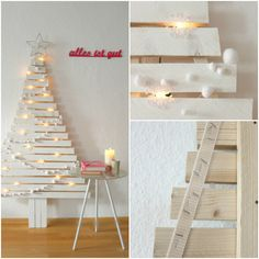 weihnachtsbaum diy Christmas Signs, Christmas Diy, Christmas Decorations, Holiday, Xmas Crafts, Diy Crafts, Partition Design, Ladder Decor, Thrifting