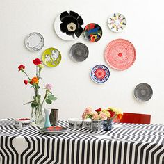 I am loving everything about Marimekko ! Marimekko Corporation is a leading Finnish textile and clothing design company. The company desi. Plate Collage, Plate Art, Wall Collage, Wall Art, Wall Décor, Hanging Plates, Plates On Wall, Painted Plates, Pattern Wall