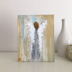 Original abstract angel in acrylic on an wood panel Easy Canvas Painting, Tole Painting, Watercolor Art, Watercolour Paintings, Angel Crafts, Farm Art, Christmas Paintings, Beginner Painting, Angel Art