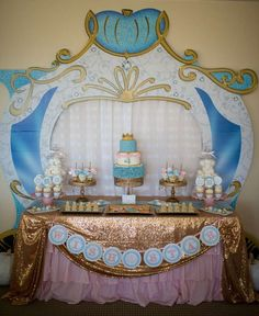 Gold and blue Cinderella birthday party! See more party ideas at http://CatchMyParty.com!