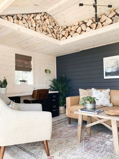 One Room Challenge Favorites - The Identité Collective Cabin Office, Shed Office, Backyard Office, Backyard Sheds, Garden Office, Outdoor Office, Backyard Cabin, Office Plan, Garden Sheds