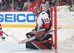 NEWARK, NJ - DECEMBER Mike McKenna of the Ottawa Senators defends his net against the New Jersey Devils during the game at Prudential Center on December 2018 in Newark, New Jersey. (Photo by Andy Marlin/NHLI via Getty Images) Nhl Games, Hockey Goalie, New Jersey Devils, Ottawa, December