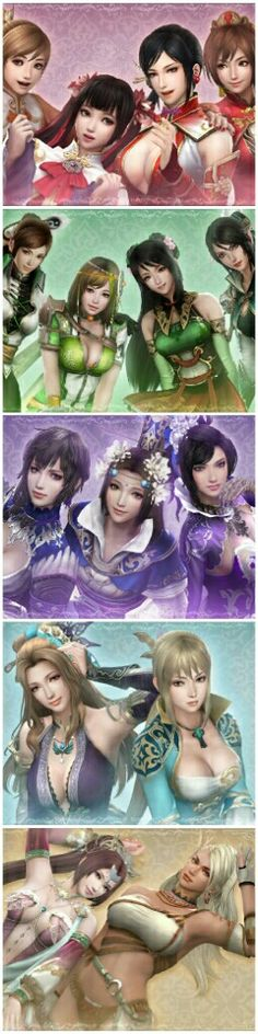 Women of Dynasty Warriors (collage)-- Xiaoqiao, Daqiao, Lianshi, Sun Shangxiang, Yueying, Bao Sanniang, Guan Yinping, Xingcai, Wangyi, Cai Wenji, Zhenji, Zhang Chunhua, Wang Yuanji, Diaochan, Zhurong. And (unfortunately) not included here, my favorite, Lu Lingqi.. ♥