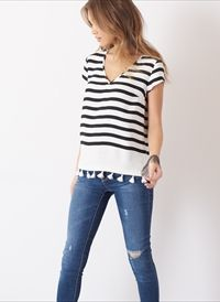Striped Tee with Tassels