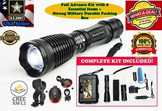 SeddyTech Military flashlights  LED tactical flashlight with Adjustable Focus5 Light Modes18650 Rechargeable BatteryChargerHolsterBike MountCycle Lights  More *** You can find more details by visiting the image link.
