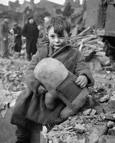 Lost Boy Holds Stuffed Toy Depression 8x10 Reprint Of Old Photo