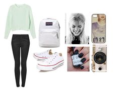 """""""<33"""" by jaramillorachel ❤ liked on Polyvore featuring Monki, Topshop, Urban Outfitters, Converse and JanSport"""