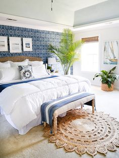 Come see how we transformed our traditional, colonial bedroom into a tropical chic Coastal Blues Master Bedroom Makeover. Come see how we transformed our traditional, colonial bedroom into a tropical chic Coastal Blues Master Bedroom Makeover. Coastal Master Bedroom, Coastal Bedrooms, Coastal Living Rooms, Master Bedroom Makeover, Master Bedroom Design, Master Bedrooms, Master Bedroom With Wallpaper, Bedroom Designs, Master Master