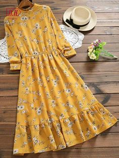 Cut Out Floral Print Flare Dress – MUSTARD If only this midi length dress had an empire waist.I love the color/ The waist on me though would be too high. Floral pattern flare dress – MUSTARD cut out Stylish Dresses, Cute Dresses, Vintage Dresses, Casual Dresses, Casual Outfits, Midi Dresses, Floral Dresses, Winter Outfits, Muslim Fashion
