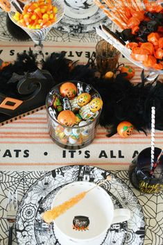 'Witch' Way To The Treats Halloween Tablescape | ©homeiswheretheboatis.net #Halloween #tablesetting #witch