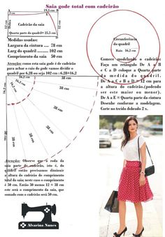 Yoked skirt - Costura e Modelagem Dress Sewing Patterns, Doll Patterns, Clothing Patterns, Sewing Basics, Sewing Hacks, Sewing Tutorials, Costura Fashion, Fashion Design Sketches, Pattern Drafting