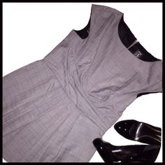 """Grey Sheath Dress BRAND NEW WITH TAGS. Grey Sheath Dress.                                                                                                                        Measurements (with dress laying flat) Armpit to armpit- 18"""" Waist (at the dress' pleated waist)- 151/2"""" Hip (at the widest section)- 21"""" Length (down the back zipper)- 39"""" JAX Dresses"""