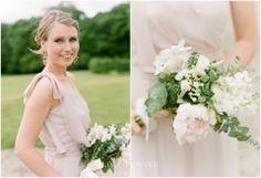 Country Mix Style Bridesmaid's Handtied Bouquet-Pale Pink Peonie Roses, White Bouvardia, White Stock, White Veronica, Lisianthus & Eucolyptus