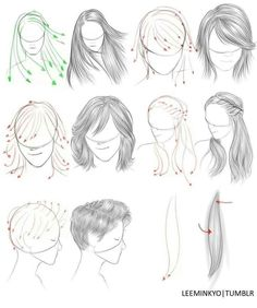 Aprender a dibujar cabello liso o lacio 2 Drawing Skills, Drawing Lessons, Drawing Techniques, Drawing Tips, Figure Drawing, Drawing Sketches, My Drawings, Painting & Drawing, Hair Styles Drawing