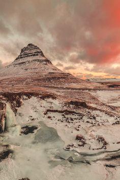 Sunrise - Kirkjufell & Frozen Waterfalls